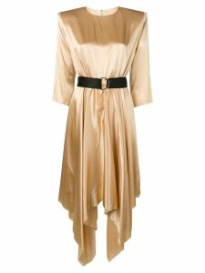 Federica Tosi belted satin dress - GOLD