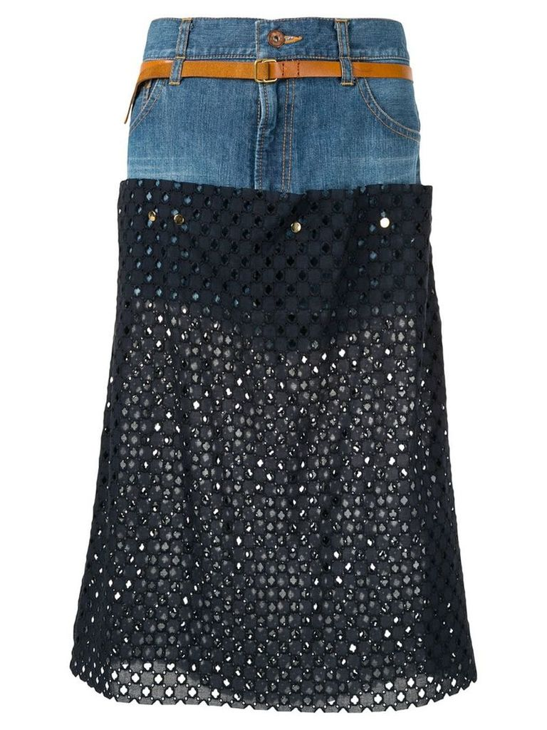 Kolor perforated jean skirt - Blue