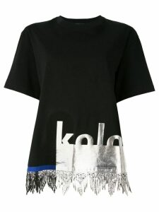 Kolor fringe-trim T-shirt - Blue