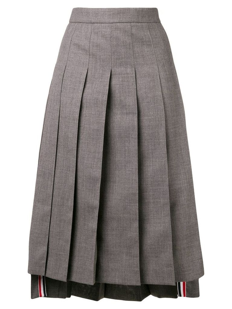 Thom Browne Ankle-Length Pleated Skirt - Grey