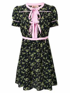 Nº21 double tie neck floral dress - Black
