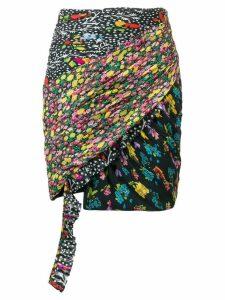 Versace mixed print draped skirt - Black