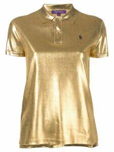 Ralph Lauren Collection silk lamé polo top - Gold