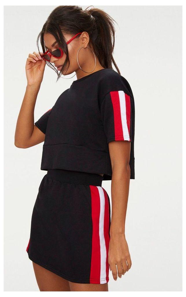 Black Contrast Panel Oversized Short Sleeve Sweater, Black
