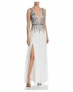 Aidan by Aidan Mattox Plunging Embellished Gown