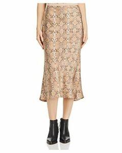 Anine Bing Bar Snakeskin-Printed Silk Skirt