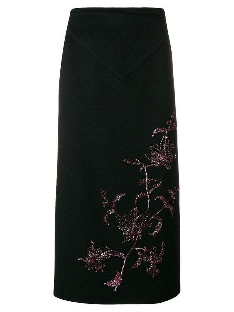 Alexander McQueen Vintage 1998 straight midi skirt - Black