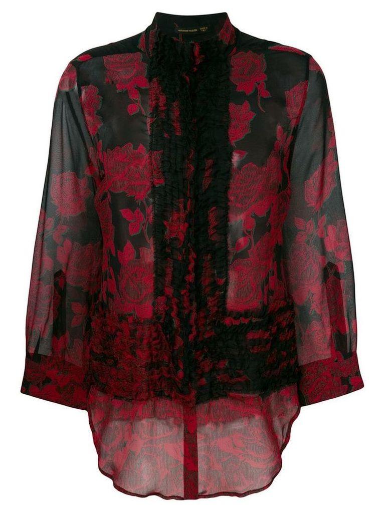 Alexander McQueen Vintage rose chiffon shirt - Black