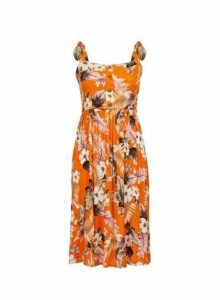 Womens Orange Floral Print Camisole Dress- Orange, Orange