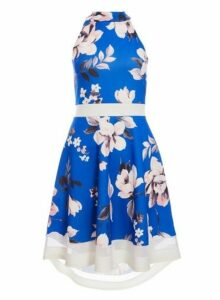 Womens *Quiz Royal Blue And Pink Floral Print Fit And Flare Dress- Royal Blue, Royal Blue