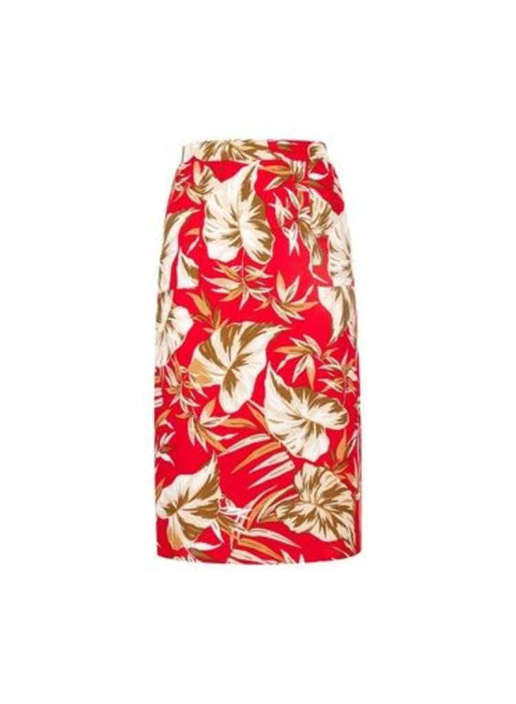 Womens Petite Red Tropical Print Skirt- Red, Red