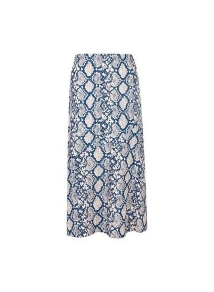 Womens Petite Blue Snake Print Skirt- Blue, Blue
