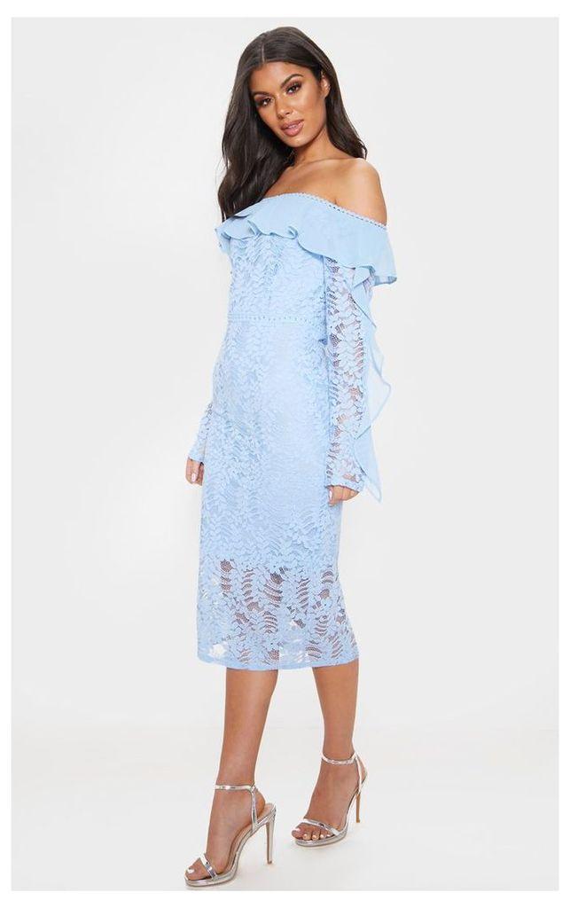 Dusty Blue Bardot Lace Frill Sleeve Midi Dress, Blue