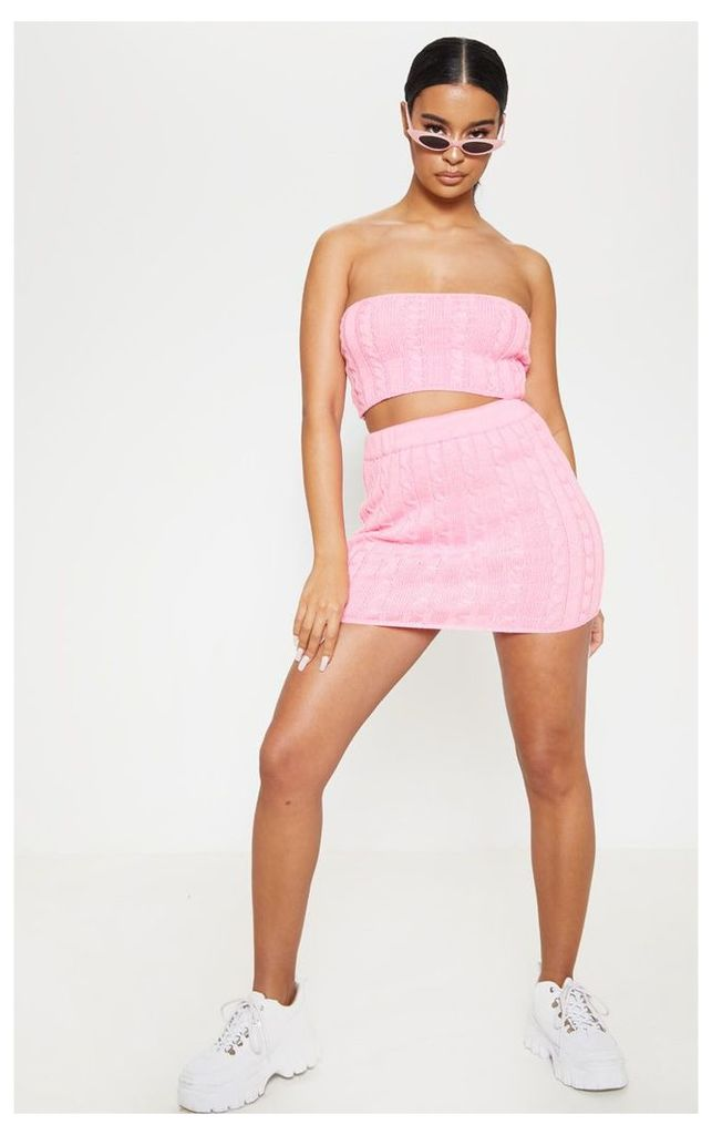 Pink Cable Knitted Skirt, Pink