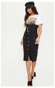 Black Belted Button Through Midi Skirt, Black