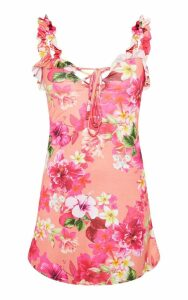 Pink Floral Print Frill Detail Shift Dress, Pink
