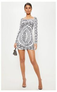 Grey Slinky Snake Print Ruched Bodycon Dress, Grey