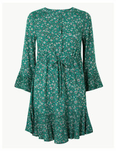 M&S Collection PETITE Floral Drawcord Relaxed Mini Dress