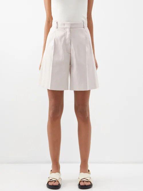 Moncler - Perforated Mesh Pleated Midi Skirt - Womens - Khaki