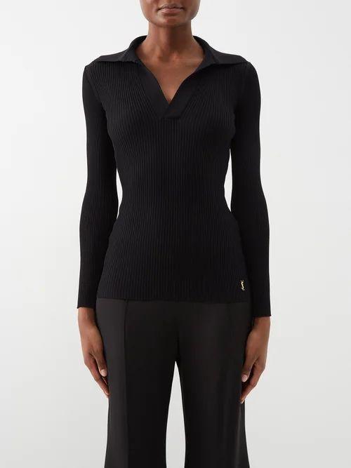 Erdem - Retta Polka Dot Cotton Blend Pencil Skirt - Womens - Black White