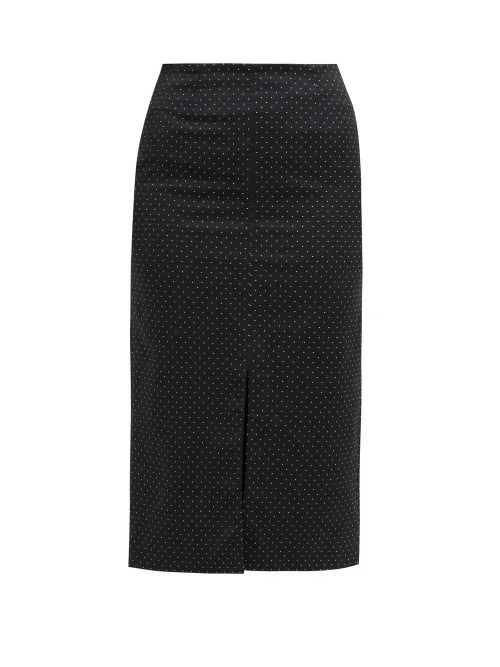 Erdem - Retta Polka Dot Cotton Blend Pencil Skirt - Womens - Black White