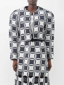 Erdem - Retta Polka-dot Cotton-blend Pencil Skirt - Womens - Black White