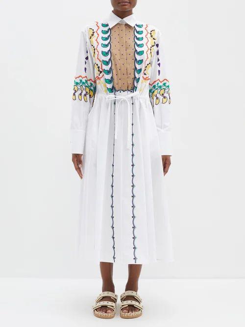 Lee Mathews - Elsie Tiered Cotton Blend Skirt - Womens - Light Brown