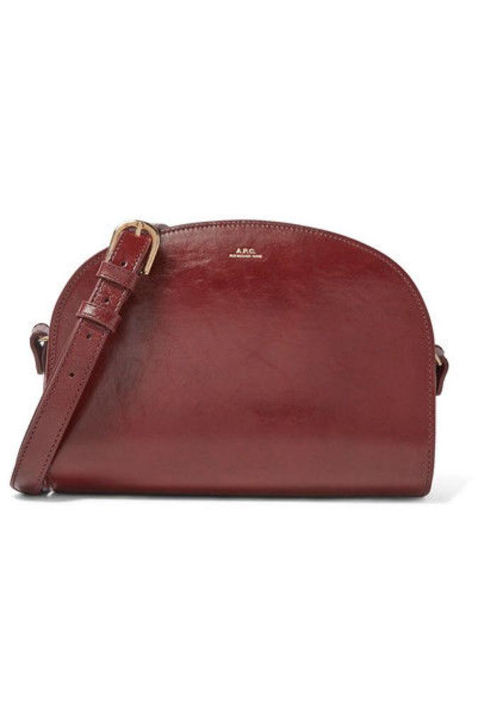 A.P.C. Atelier de Production et de Création - Demi-lune Textured-leather Shoulder Bag - Burgundy