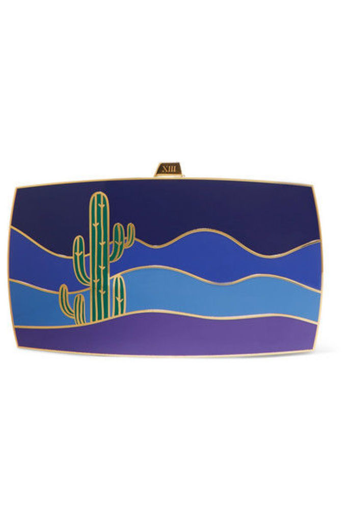 13BC - The Mexican Calling Gold-tone And Enamel Clutch - Blue