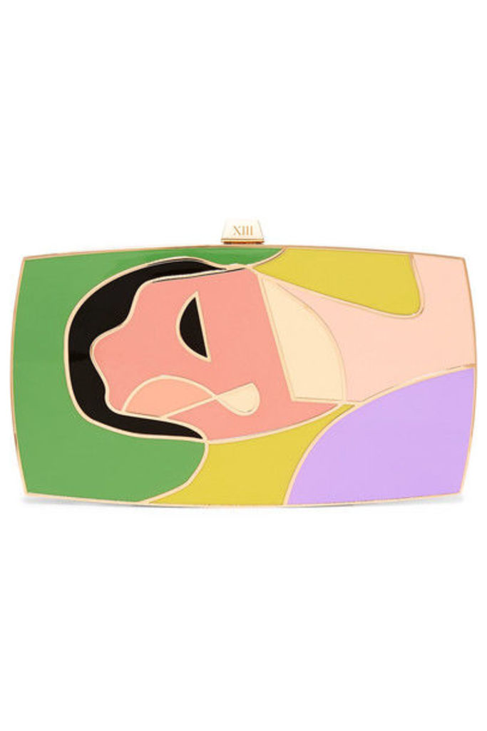 13BC - The Surrender Gold-tone And Enamel Clutch - Green