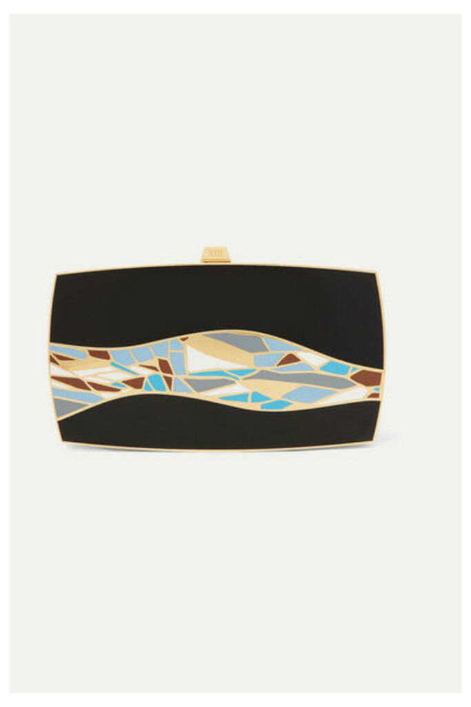 13BC - The First Wave Gold-tone And Enamel Clutch - Black