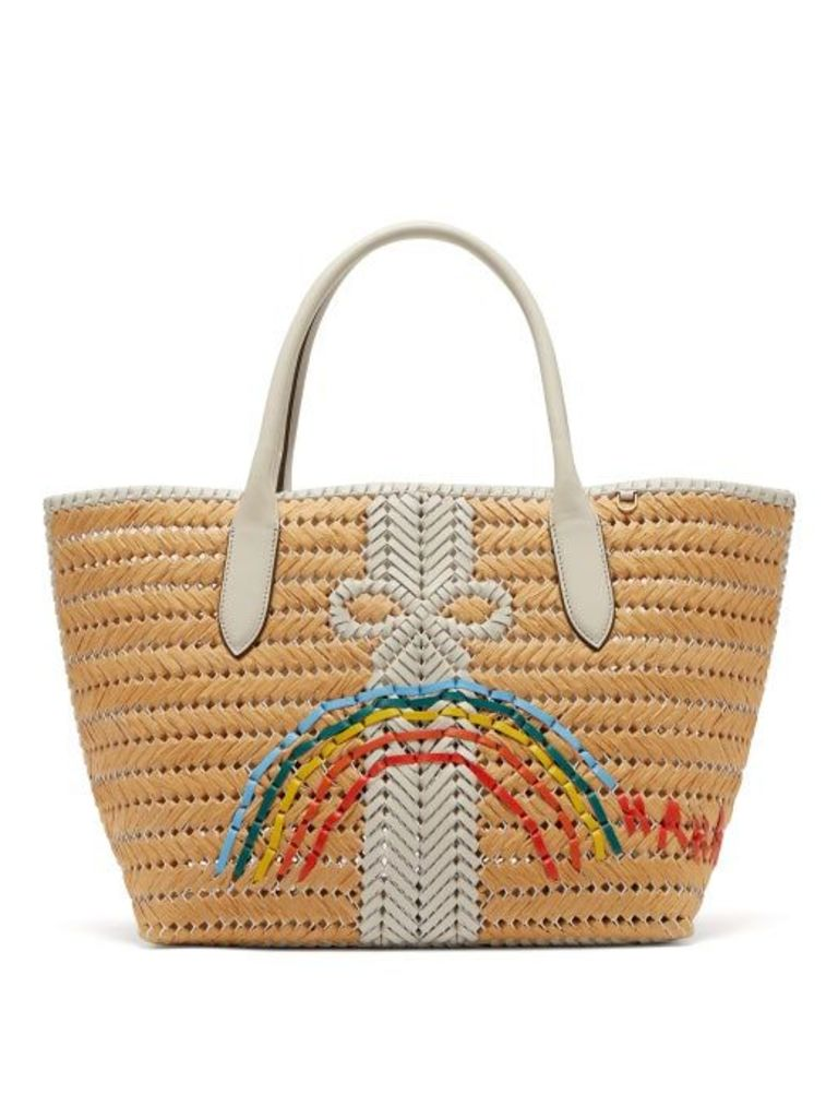 Anya Hindmarch - The Neeson Medium Straw Basket Bag - Womens - White Multi