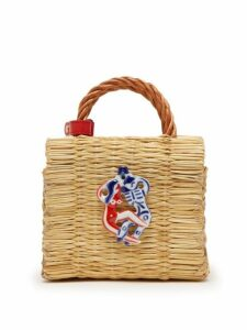 Heimat Atlantica - Liebe Ceramic Charm Straw Bag - Womens - Beige Multi