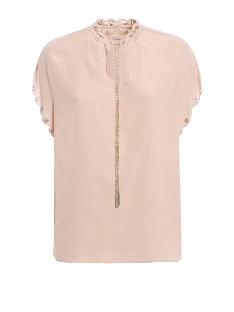 MICHAEL Michael Kors Silk Crepe Blouse With Chain And Eyelets
