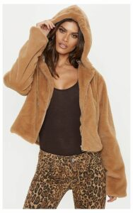 Taupe Faux Fur Cropped Hooded Jacket, Brown