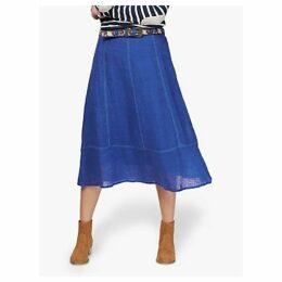 Brora Gauzy Linen Flared Midi Skirt, Sapphire