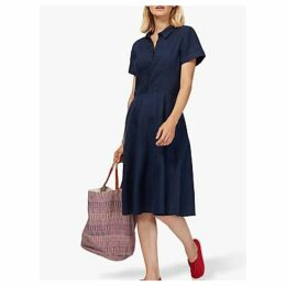 Brora Linen Tennis Dress, Navy