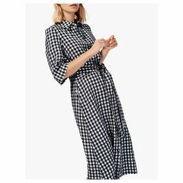 Brora Gingham Check Linen Shirt Dress, Monochrome