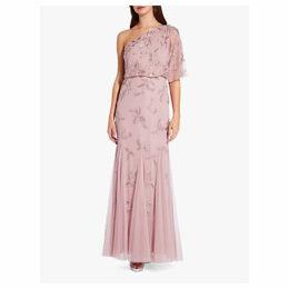 Adrianna Papell Asymmetric Long Beaded Dress, Dusted Petal