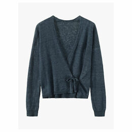 Toast Fine Linen Wrap Cardigan, Charcoal