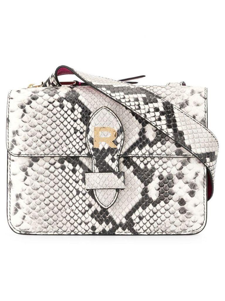 Rochas snakeskin-effect cross body bag - White