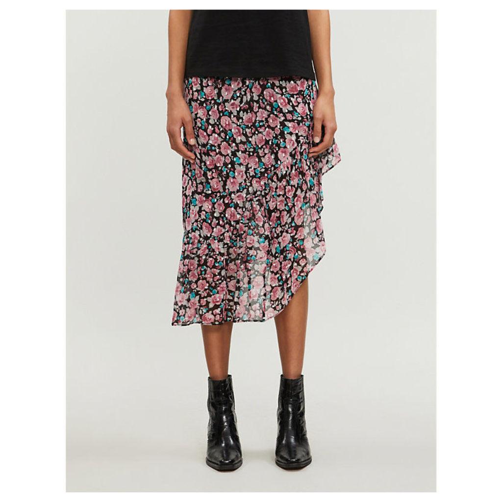 Asymmetrical floral-print woven skirt