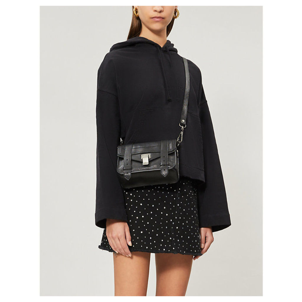 Rhinestone-embellished denim skirt