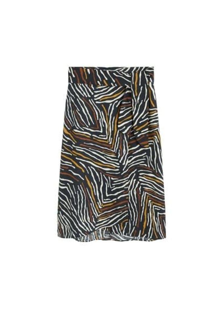 Zebra linen-blend skirt