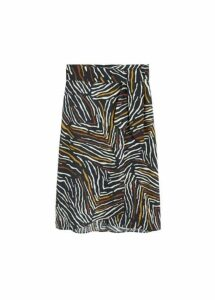 Printed linen-blend skirt