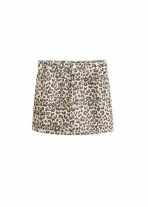 Leopard denim miniskirt