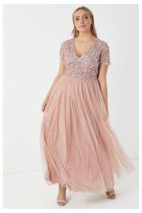 Womens Maya Curve V neck Short Sleeve Sequin Maxi Dress -  Pink