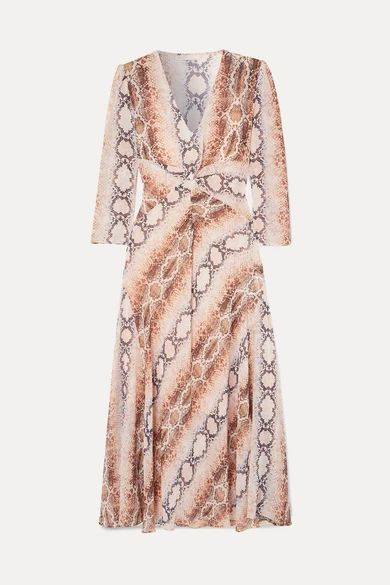 Maje - Gathered Snake-print Crepe De Chine Dress - Ivory