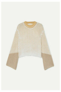 Chloé - Layered Crochet And Open-knit Sweater - Sand