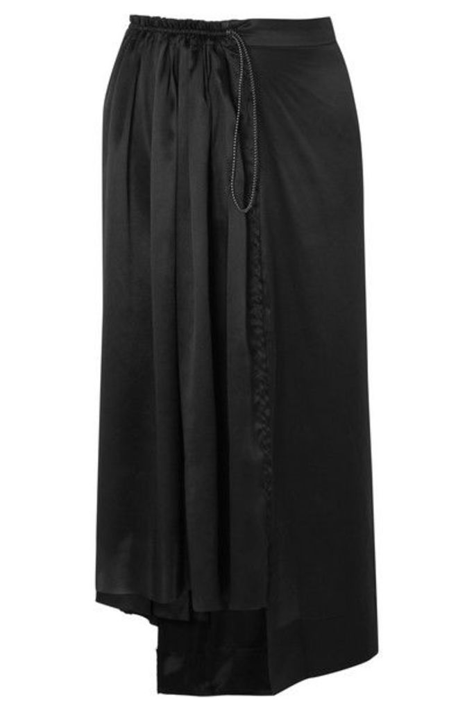 Aries - Asymmetric Frayed Silk-satin Midi Skirt - Black